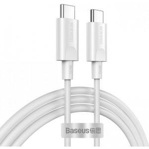 Baseus Xiaobai Type-C 5A 100W Καλώδιο Γρήγορης Φόρτισης Type-C to Type-C 1,5M Λευκό CATSW-D02