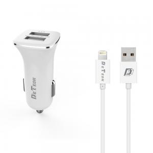 Φορτιστής Αυτοκινήτου DeTech DE-C01i 5V/2.4A 12/24V 2 x USB με Lightning καλώδιο Λευκό