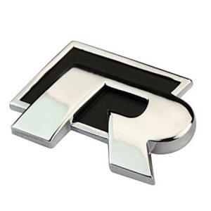 Σήμα VW R  Μεταλλικό Μαύρο Αυτοκόλλητο