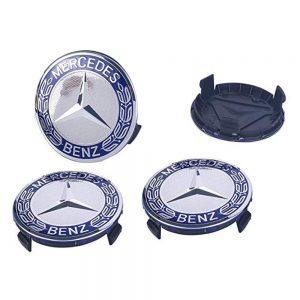 Mercedes Καπάκια Ζαντών Μπλέ Σκούρο – Ασημί 7.5cm 4 τεμάχια