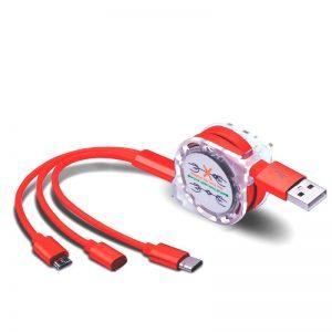Καλώδιο Φόρτισης 3 σε 1 micro USB Type-C και Lighting 1Μ Κόκκινο