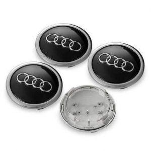 Καπάκια Ζάντας για Audi 6.9cm Μαύρα 4 Τεμάχια