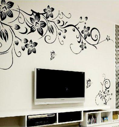 Αυτοκόλλητο τοίχου Λουλούδια με Πεταλούδα 50cm x 70cm Μαύρο