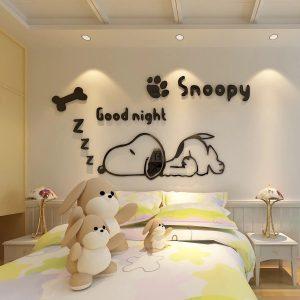 Αυτοκόλλητο Τοίχου Snoopy Good Night 3D 51cm x 100cm Μαύρο