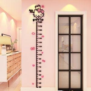 Αυτοκόλλητο Μέτρο Hello Kitty Grow Up 3D 180cm * 30cm Ροζ – Μαύρο