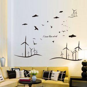 Αυτοκόλλητο Τοίχου I Love Wind 120cm  x 246cm Μαύρο