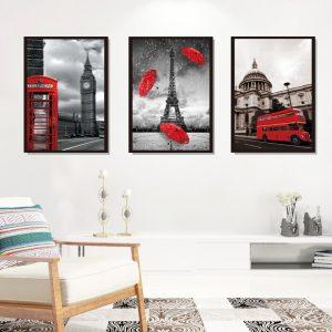 Αυτοκόλλητο Τοίχου London Mood Collage 40cm  x 98cm Μαύρο Κόκκινο