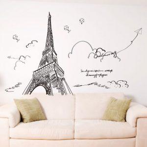 Αυτοκόλλητο Τοίχου Eiffel Tower 123cm  x 140cm Μαύρο