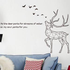 Αυτοκόλλητο Τοίχου 120cm x 174cm Geometric Deer Μαύρο