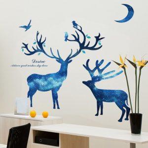 Αυτοκόλλητο Τοίχου 106cm x 116cm  Deer Family Μπλέ