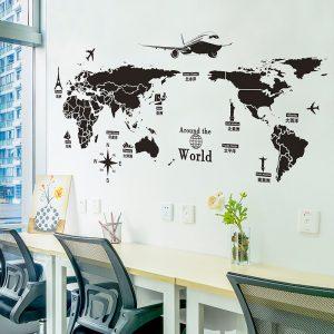 Αυτοκόλλητο Τοίχου 78cm x 145cm  Around The World Μαύρο