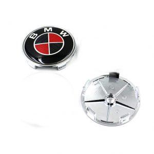 BMW Μαύρο – Κόκκινο Καπάκι Ζάντας 6.8cm