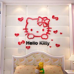 Αυτοκόλλητο Τοίχου Hello Kitty 3D 61cm x 100cm Μαύρο-Κόκκινο