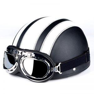 Κράνος Μηχανής Μαύρο-Άσπρο με Γυαλιά  O/S