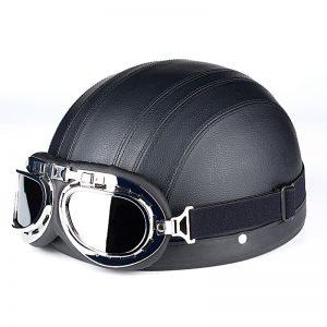 Κράνος Μηχανής Μαύρο με Γυαλιά  O/S