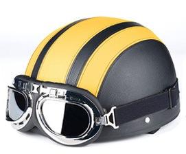 Κράνος Μηχανής Μαύρο-Κίτρινο με Γυαλιά  O/S