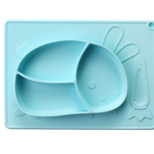 DDX Πιάτο Φαγητού Σιλικόνης με Διαχωριστικά Baby Blue χρώμα