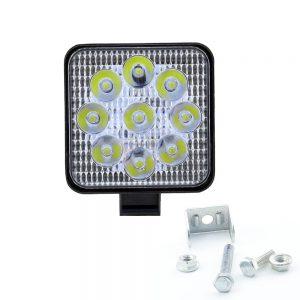 Προβολέας Τετράγωνος LED 6000K 2200LM 11cm με 9 LED 12/24V 27w  Μαύρο