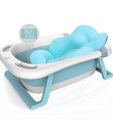 Μπανιέρα Μωρού με Θερμόμετρο και Μαξιλάρι Στήριξης Baby Blue