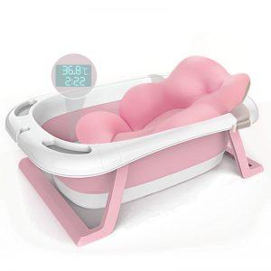 Μπανιέρα Μωρού με Θερμόμετρο και Μαξιλάρι Στήριξης Baby Pink